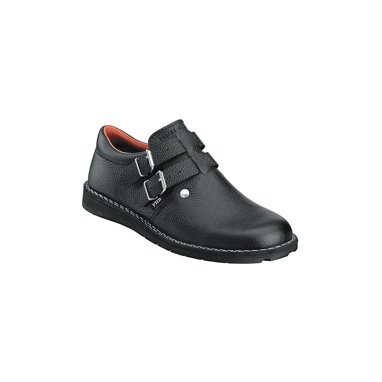 Black double buckle roofers shoes