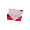 Red tray with clear lid